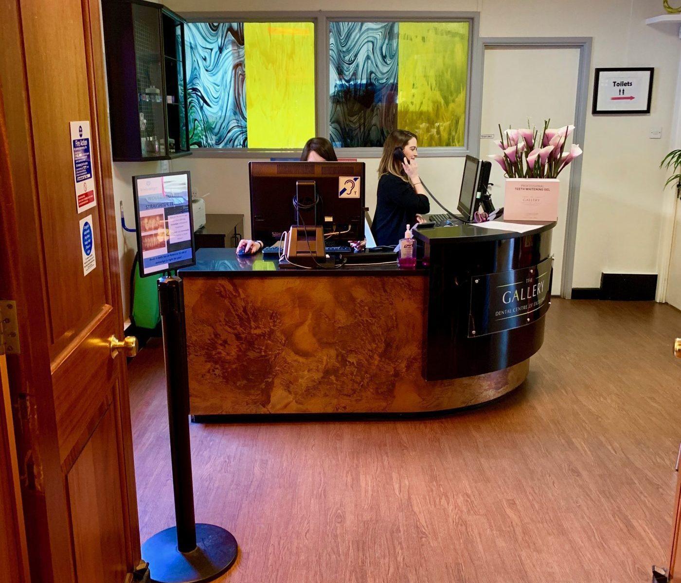 Reception desk at The Gallery Dental